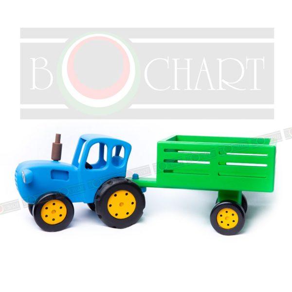Синий трактор с прицепом