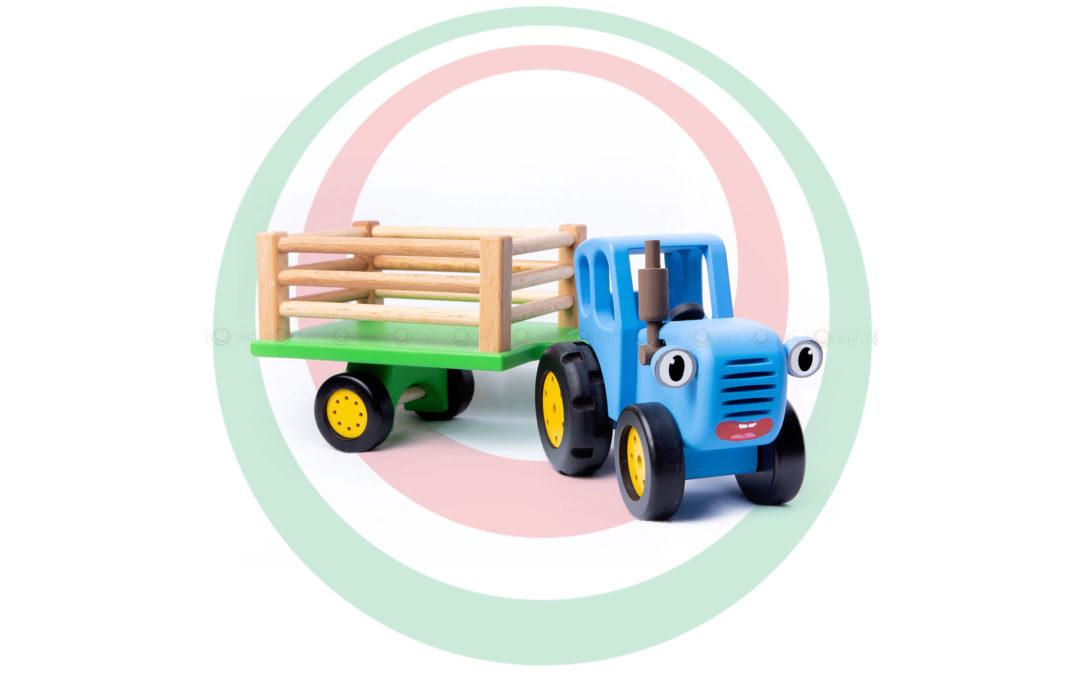 Игрушка деревянная «Синий трактор с прицепом»