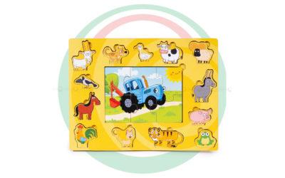 Пазлы «Синий трактор с животными»