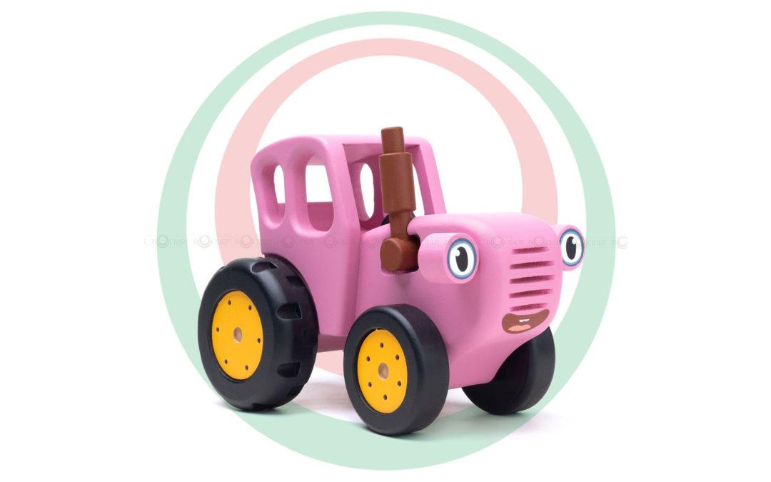 Игрушка деревянная «Синий трактор», розовый